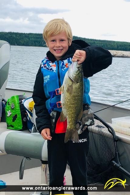 """17.5"""" Smallmouth Bass caught on Wabaskang Lake"""