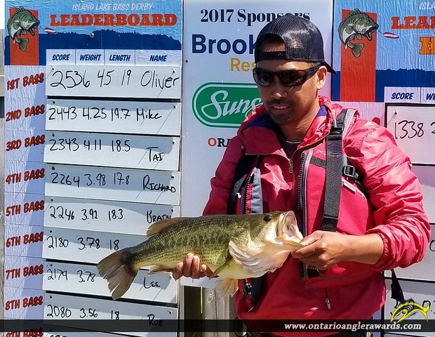 "19"" Largemouth Bass caught on Island Lake Conservation"